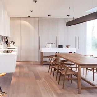 Ispirazione per una grande sala da pranzo aperta verso la cucina nordica con pareti bianche e parquet chiaro