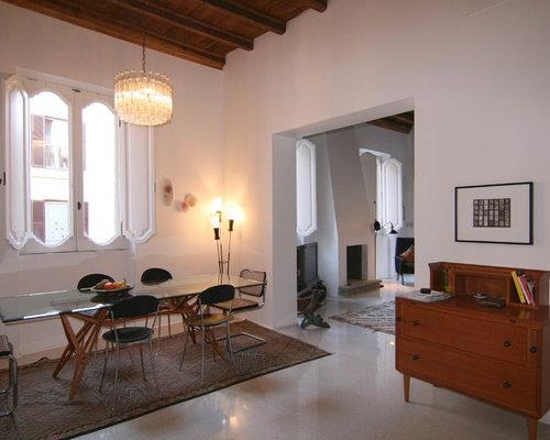 sala da pranzo aperta verso il soggiorno moderna con camino ... - Arredare Soggiorno Con Sala Da Pranzo