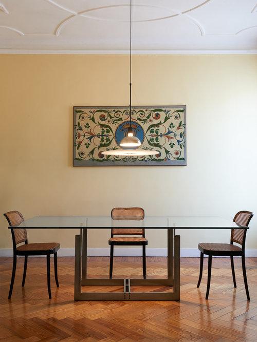 Sala da pranzo con pareti gialle - Foto, Idee, Arredamento