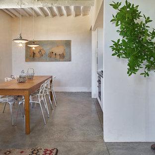 Foto di una sala da pranzo aperta verso la cucina mediterranea di medie dimensioni con pareti bianche, pavimento grigio e pavimento in laminato