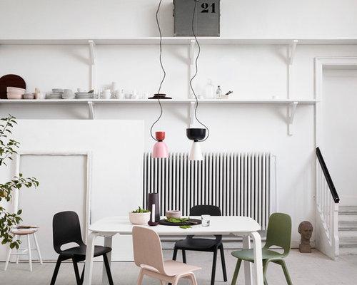 Skandinavische esszimmer mit gebeiztem holzboden   ideen, bilder ...