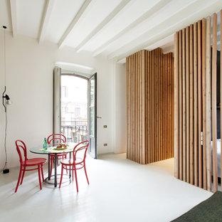 Esempio di una sala da pranzo aperta verso il soggiorno contemporanea di medie dimensioni con pareti bianche