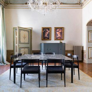 Ispirazione per una grande sala da pranzo minimal chiusa con pavimento in terracotta, pareti bianche, nessun camino e pavimento marrone