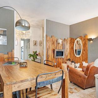 Foto di una sala da pranzo eclettica chiusa con pareti multicolore e pavimento beige