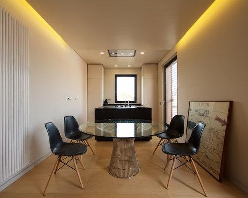 sala da pranzo aperta verso il soggiorno con pavimento con ... - Design Soggiorno Pranzo