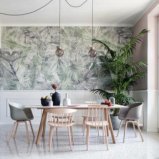 Стильный дизайн: столовая в стиле современная классика с розовыми стенами и белым полом - последний тренд