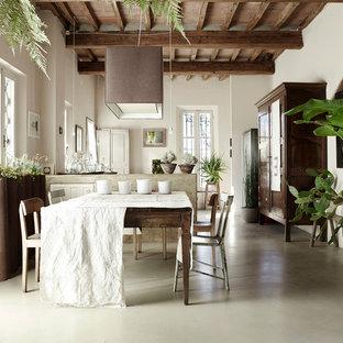 Esempio di una sala da pranzo aperta verso il soggiorno country con pavimento in cemento, pareti bianche e pavimento grigio