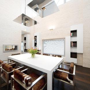 Immagine di una grande sala da pranzo aperta verso il soggiorno minimal con pareti beige, parquet scuro, camino bifacciale, pavimento marrone e cornice del camino in pietra