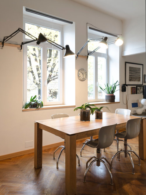 Sala da pranzo con pareti grigie - Foto, Idee, Arredamento