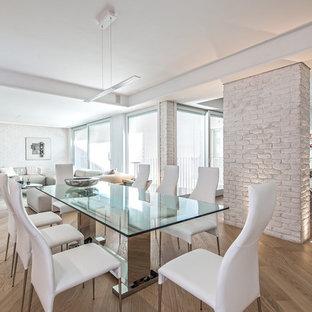 Ispirazione per una grande sala da pranzo aperta verso il soggiorno design con pareti bianche e pavimento in legno massello medio