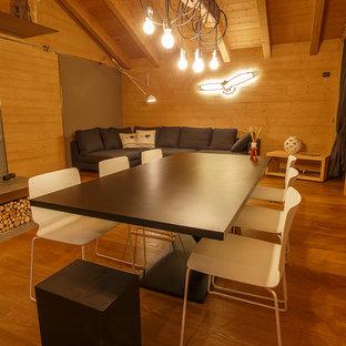 Diseño de comedor rústico, grande, abierto, con paredes grises, suelo de madera en tonos medios, chimenea de doble cara, marco de chimenea de baldosas y/o azulejos y suelo marrón