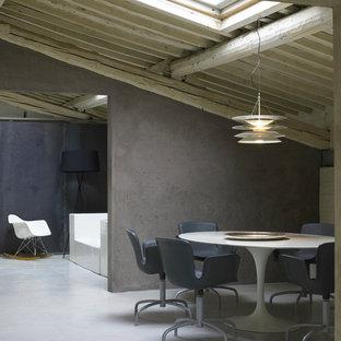 Foto di una sala da pranzo industriale con pareti grigie e pavimento in cemento