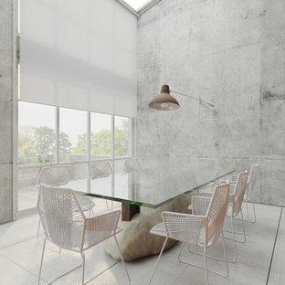 Foto de comedor actual, abierto, con paredes grises