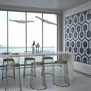 Idee per una sala da pranzo aperta verso il soggiorno design di medie dimensioni con pavimento in marmo