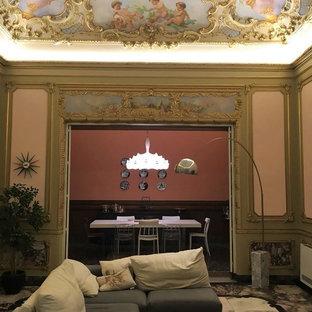 Foto de comedor clásico, grande, abierto, con paredes rosas, suelo de mármol y suelo multicolor