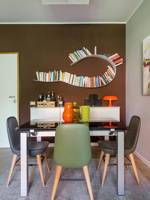 Sala da pranzo con pareti marroni - Foto, Idee, Arredamento