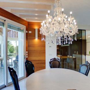 Ispirazione per una grande sala da pranzo aperta verso il soggiorno design con pareti marroni, camino bifacciale, cornice del camino in intonaco e pavimento multicolore