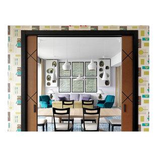 Exempel på en eklektisk matplats, med klinkergolv i keramik och turkost golv