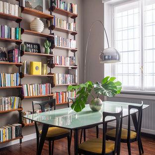 Esempio di una sala da pranzo minimal con pareti grigie, parquet scuro e pavimento marrone