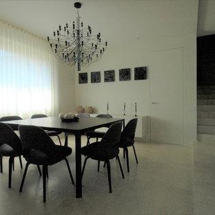 Ispirazione per una grande sala da pranzo aperta verso il soggiorno minimal con pareti bianche, pavimento in marmo, camino classico, cornice del camino in metallo e pavimento beige