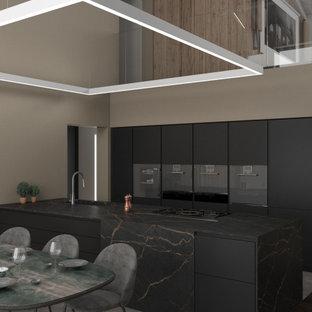 他の地域の広いコンテンポラリースタイルのおしゃれなLDK (磁器タイルの床、両方向型暖炉、タイルの暖炉まわり、表し梁、板張り壁) の写真