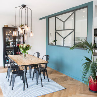 75 Most Popular Scandinavian Dining Room With Blue Walls Design