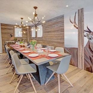 Cette photo montre une salle à manger montagne avec un mur multicolore, un sol en bois clair et un sol beige.