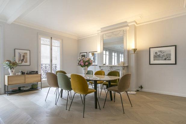 Stylische idee farbige esszimmerst hle gekonnt kombiniert for Farbige stuhle esszimmer