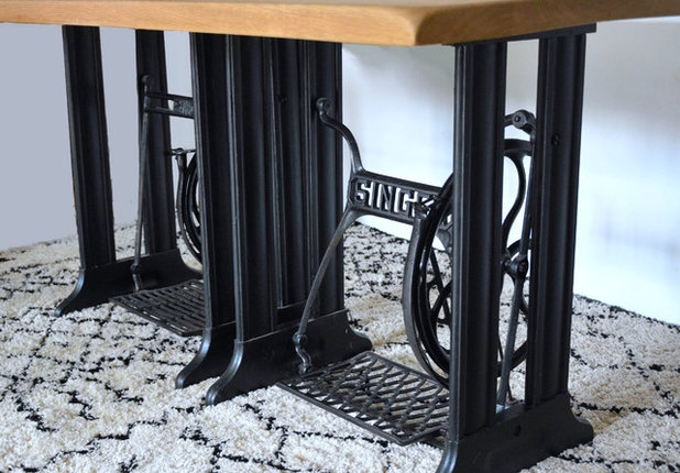 diy fabriquer une table indus 39 avec des pieds de machine. Black Bedroom Furniture Sets. Home Design Ideas