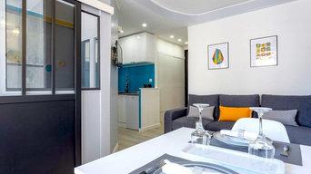 Ensemble complet (hall, cuisine, salon, salle à manger, chambre dans appartement