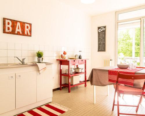 amnagement dune salle manger ouverte sur la cuisine campagne de taille moyenne avec - Salle A Manger Campagne