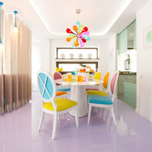 Photo of a contemporary dining room in Other with white walls and purple floor.