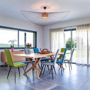 Immagine di una grande sala da pranzo aperta verso il soggiorno eclettica con pareti bianche, pavimento con piastrelle in ceramica e pavimento grigio