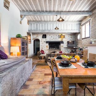 Inspiration pour une grande salle à manger ouverte sur le salon rustique avec un mur blanc, une cheminée standard, un manteau de cheminée en pierre et un sol en carreau de terre cuite.