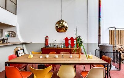 Houzz Tour: Färgglad vintage-charm i ett familjeloft utanför Paris