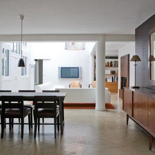 Ispirazione per una grande sala da pranzo aperta verso il soggiorno minimal con pareti marroni e pavimento in cemento