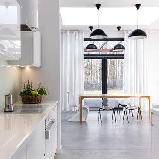 Cette photo montre une grand salle à manger ouverte sur le salon tendance avec un mur blanc, béton au sol et aucune cheminée.