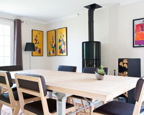 salle manger avec un po le bois photos et id es d co de salles manger. Black Bedroom Furniture Sets. Home Design Ideas