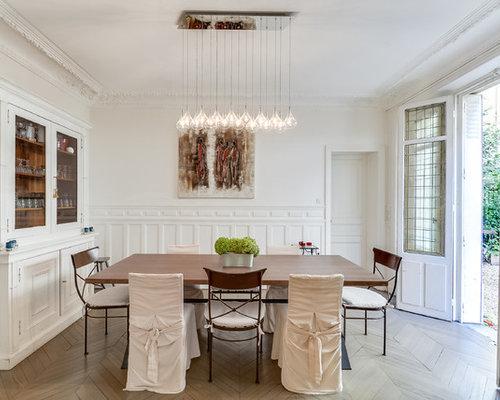 ide de dcoration pour une grande salle manger tradition ferme avec un mur blanc