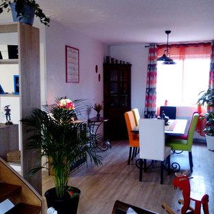 Ispirazione per una grande sala da pranzo bohémian con pareti bianche, pavimento in laminato, camino classico e cornice del camino in intonaco