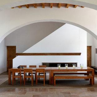 Ispirazione per una sala da pranzo mediterranea con pareti bianche, camino lineare Ribbon e pavimento marrone