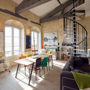 Idées Déco Pour Une Salle à Manger Ouverte Sur Le Salon éclectique Avec Un  Sol En