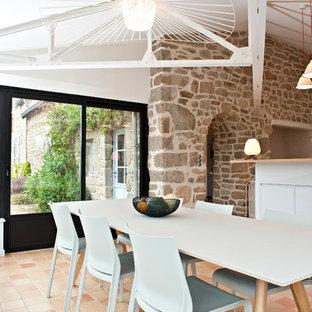 Cette photo montre une grande salle à manger ouverte sur le salon nature avec un mur beige et un sol en carreau de terre cuite.