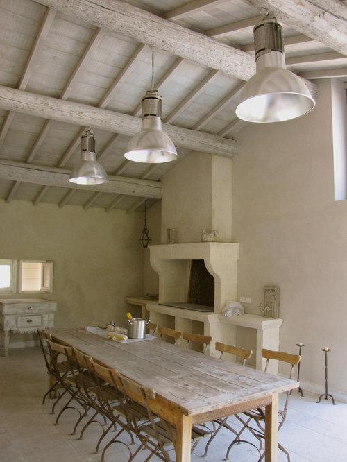 salle manger campagne avec un manteau de chemin e en pierre photos et id es d co de salles. Black Bedroom Furniture Sets. Home Design Ideas