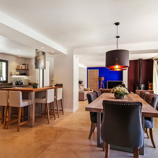 Large trendy travertine floor and beige floor kitchen/dining room combo photo in Nice with white walls, a wood stove and a metal fireplace