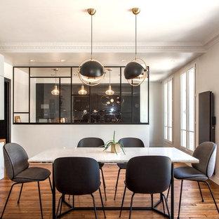 Réalisation d'une grand salle à manger design fermée avec un mur blanc, un sol marron, un sol en bois foncé et une cheminée standard.