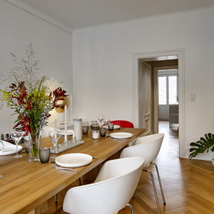 Idee per una sala da pranzo aperta verso il soggiorno scandinava di medie dimensioni