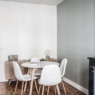 Enclosed dining room - mid-sized scandinavian dark wood floor and brown floor enclosed dining room idea in Lyon with gray walls, a standard fireplace and a wood fireplace surround