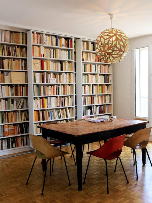 Inspiration Pour Une Salle à Manger Vintage Avec Un Mur Blanc, Un Sol En  Bois