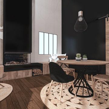 Rénovation d'une maison ambiance industrielle - Salle à Manger